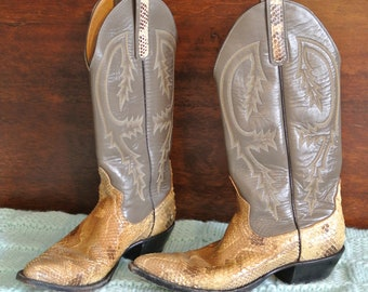 4686f237db4 Snakeskin cowboy boots   Etsy