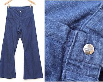 dc6dc676d7 Vintage 1970s Seafarer High Waist Bell Bottom Wide Leg Flare Jeans Sailor  Nautical Front Pocket