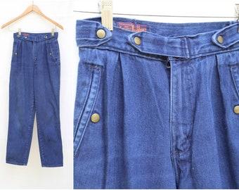 cd3b435891 Vintage Landlubber 1970s 1980s High Waist Button Detail Pleats Straight Leg Jeans  Denim Boho