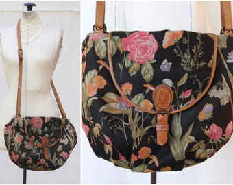 2e38db96c5 Vintage 90s Liz Claiborne Should Cross Body Floral Canvas Leather Purse  Satchel Bag