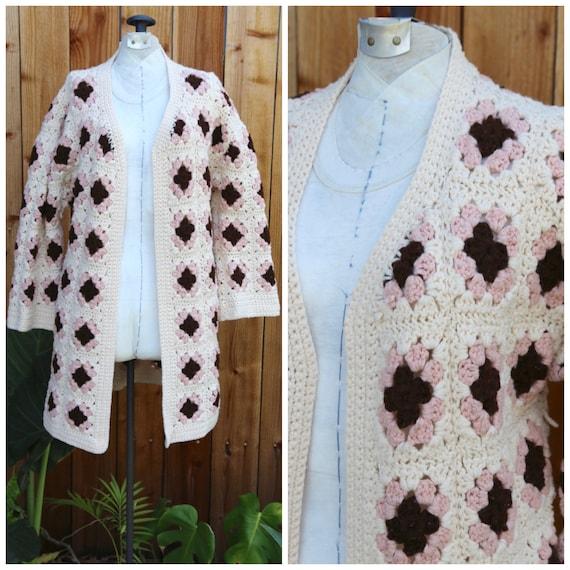Vtg 60s 70s Crochet Granny Square Cardigan Sweater