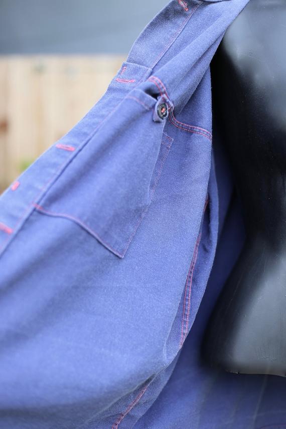 Vtg French German Chore Jacket / Workwear Indigo … - image 6
