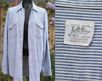 Vtg 70s LEE Sanforized Shirt / Button Front Oxford / Engineer Striped / Distressed / Large