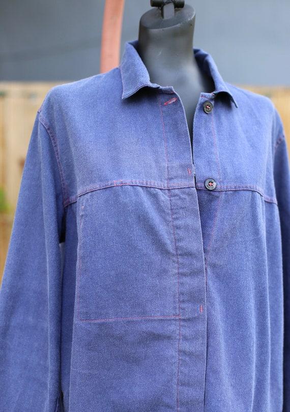 Vtg French German Chore Jacket / Workwear Indigo … - image 4