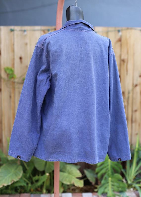 Vtg French German Chore Jacket / Workwear Indigo … - image 5
