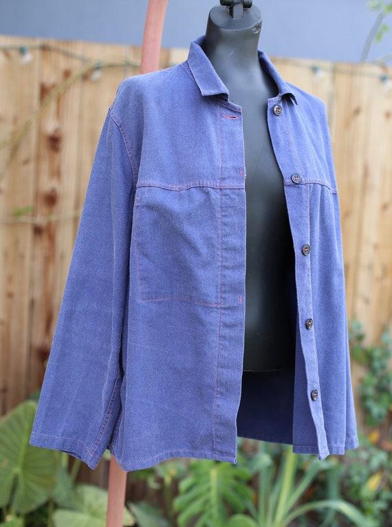 Vtg French German Chore Jacket / Workwear Indigo … - image 3