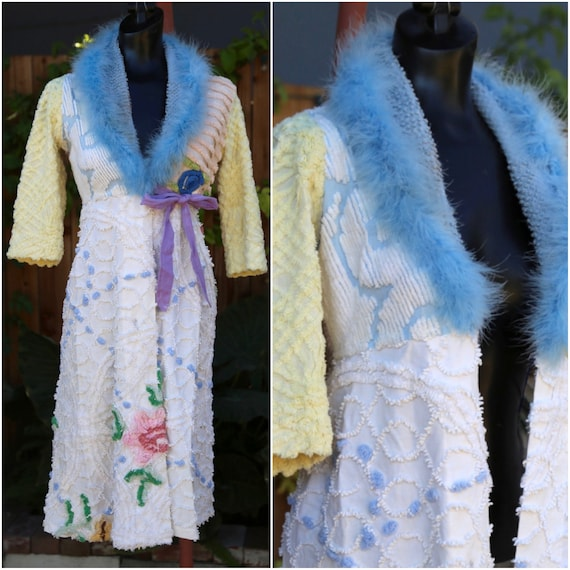 Vtg Chenille Robe / Fuzzy Furry / Colorful / Quilt