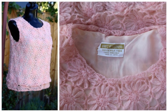 Vtg 60s Daisy Chain Sweater Vest / Pullover Top T… - image 1