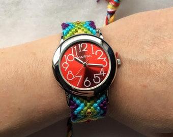 Friendship Bracelet Style Watch In Rainbow with Swarovski Rhinestones