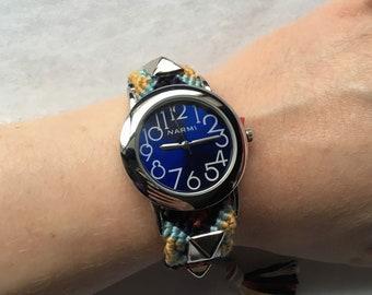 Friendship Bracelet Style Watch In Navy With Silvertone Pyramid Studs