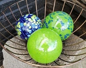 "Green and Blue Blown Glass Floats, Set of Three 3"" Glass Decorative Balls for Home and Garden by Avalon Glassworks"