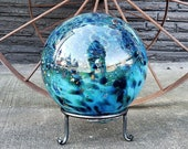 "Ocean Garden Ball, 7.5"" Blue Pattern Blown Glass Garden Ball, Large Decorative Float with Hand Made Metal Stand By Avalon Glassworks"