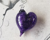 "Purple Heart Ornament, 3.25"" Long Blown Glass Hanging Decoration, Sun Catcher, Valentine Gift, By Avalon Glassworks"