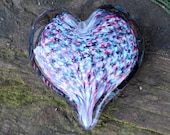 "Multi-Colored Heart, Solid 3"" Paperweight Sculpture,  with Aqua, Pink, Purple and White Speckles, Appreciation Gift, By Avalon Glassworks"