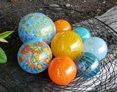 "Aqua & Orange Glass Balls, Set of Eight, 2.5"" to 4.5"" Hand Blown Floats, Sturdy Decorative Garden Spheres by Avalon Glassworks"
