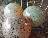 "Red Speckled and Golden Cream, Set of Three, 3.5"" Blown Glass Spheres, Decorative for Outdoors, By Avalon Glassworks"