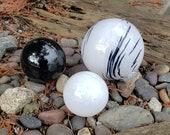 "White & Black Floats, Set of Three 2.5"" to 4.5"" Decorative Hand Blown Glass Garden Balls, Home Décor, Pond Floats, By Avalon Glassworks"