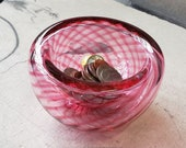 "Pink Optic Twist Blown Glass Bowl, 4.5"" Double-Wall Style Candy Dish, Handmade in Seattle by Avalon Glassworks"