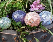 "Spring Mix, Set of Four Blown Glass 2.5"" to 3.5"" Decorative Balls in Multi Colored Specks, By Avalon Glassworks"