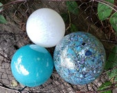 "Turquoise and White Pond Floats, Set of Three 2.5""-3.5"" Blown Glass Decorative Balls, Outdoor Garden Decor By Avalon Glassworks"