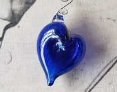 "Blue Heart Ornament, 3.75"" Long Blown Glass Hanging Decoration, Sun Catcher, Valentine Gift, By Avalon Glassworks"