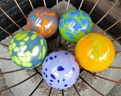 "Colorful Spotted Set of Five 2.5"" Floats, Garden Balls, Nautical Home or Garden Décor, Hand Blown By Avalon Glassworks"