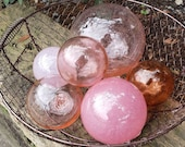 "Pink Champagne, Set of Six Pink Floats 2.5"" to 4.5"" in Transparent and Opaque Shades of Pink, Decorative Glass Balls, By Avalon Glassworks"