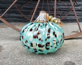 """Spotted Turquoise Blown Glass Pumpkin, 4.5"""" Decorative Sculpture with Metallic Gold Curly Ribbed Stem By Avalon Glassworks"""