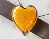 """Orange Glass Heart, Solid Heart-Shaped 3.5"""" Paperweight Sculpture, Valentine's Day, Appreciation Gift By Avalon Glassworks"""