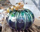 "Blue Fades to Purple, 4"" Blown Glass Pumpkin, Decorative Gourd Sculpture with Gold Ribs and Stem, By Avalon Glassworks"