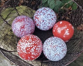 "Red and White Spotted Garden Pond Balls, Set of Five, Blown Glass Spheres 3.5"" Floats, Yard Art, Nautical Coastal Decor, Avalon Glassworks"