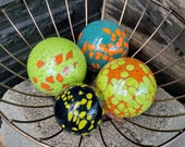 """Turquoise, Orange, Green & Blue Blown Glass Floats, Set of Four 2.5"""" and 3.5"""" Colorful Glass Decorative Balls by Avalon Glassworks"""