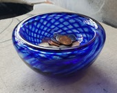 "Cobalt Blue Optic Twist Blown Glass Bowl, 4.5"" Double-Wall Style, Candy Dish, Jewelry Holder, Made in Seattle by Avalon Glassworks"