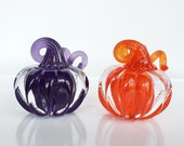 "Purple and Orange Solid Glass Pumpkin Paperweights, 3"" Decorative Squash Sculptures, Curly Stem, Orange & Purple Duo, By Avalon Glassworks"