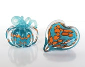 "Turquoise and Orange Pumpkin and Heart Combo, Solid Glass Paperweights, 3"" Decorative Art Sculptures, Valentine's Day Gift Avalon Glassworks"