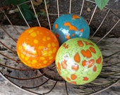"Blue, Orange, & Green Blown Glass Floats, Set of Three 3.5"" Colorful Glass Decorative Balls with Spots by Avalon Glassworks"