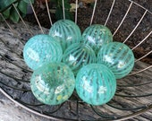 "Jadeite, Green Pattern Glass Balls, Set of 7, Blown Glass 2.5""-3"" Decorative Spheres, Pond Floats, By Avalon Glassworks"