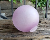 "Frosted Purple ""Manganese"" Float, 4.5"" Blown Glass Light Purple Pink Pond Float, Etched Finish, Decorative Garden Ball By Avalon Glassworks"