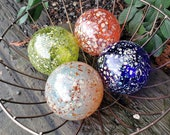 "Orange, Green, Blue and Cream Hand Blown Glass Floats, Set of Four 3.5"" Glass Art Spheres, Decorative Outdoors or Indoors, Avalon Glassworks"