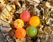 "Fall Festivities, Set of Five, 2.5""  Blown Glass Floats in Red, Orange, Yellow, and Green, Sturdy Decorative Glass Balls by Avalon Glasswork"