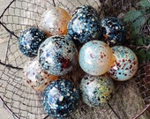 "Spotted Neutral Glass Balls, Set of 12 Pond Floats, 2.5"" Spotted Spheres, Blown Glass Decorative Balls, Garden Orbs By Avalon Glassworks"