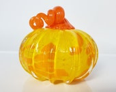 "Yellow and Orange Glass Pumpkin, 4"" Decorative Squash Sculpture, Festive Spots, Curly Orange Stem, Fall Autumn Halloween, Avalon Glassworks"
