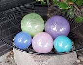 "Pastel Dreams, Set of Five Floats, 2.5""-4.5"" Blown Glass Spheres in Pastel Purple, Green, Blue & Pink, Decorative Balls By Avalon Glassworks"
