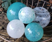 "Turquoise and White Twist, Set of Five Floats, 2.5"" to 4.5"" Decorative Blown Glass Balls, by Avalon Glassworks"