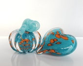 "Aqua and Orange Mini Pumpkin and Heart Combo, Solid Glass Paperweights, 3"" Decorative Squash and Heart Sculptures, By Avalon Glassworks"