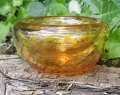 """Golden Optic Twist Blown Glass Bowl, 4.5"""" Double-Wall Style, Amber Candy Dish, Made in Seattle by Avalon Glassworks"""