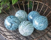 "Blue Crackle Glass Floats, Set of Five 3"" Blown Glass Spheres, Decorative for Outdoors or Indoors, By Avalon Glassworks"