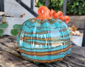"Turquoise & Orange Blown Glass Pumpkin, 5.5"" Decorative Squash Sculpture in Marbleized Swirl Design, Curly Ribbed Stem, Avalon Glassworks"