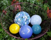 "Chance of Sun, White, Blue & Yellow Floats, Set of Five, 2.5"" - 4.5"" Blown Glass Balls, Decorative Outdoors or Indoors, By Avalon Glassworks"