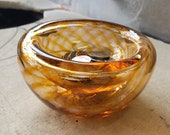 "Golden Optic Twist Blown Glass Bowl, 4.5"" Double-Wall Style, Amber Candy Dish, Made in Seattle by Avalon Glassworks"